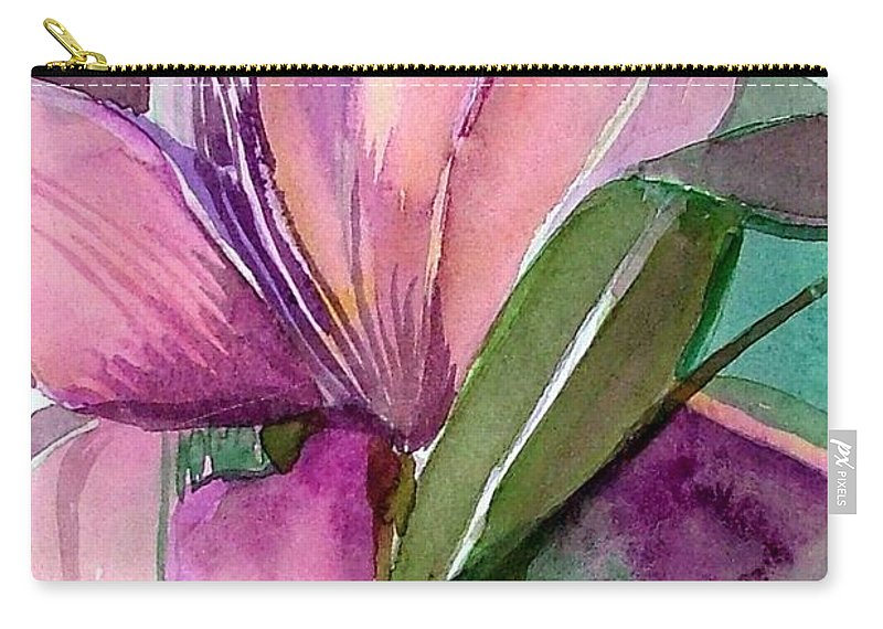 Flower Carry-all Pouch featuring the painting Day Lily Pink by Mindy Newman