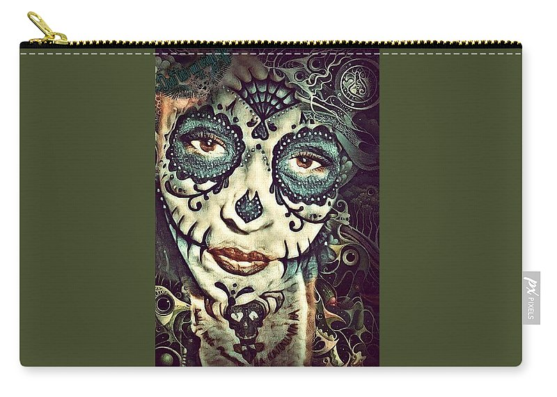 Digital Art Carry-all Pouch featuring the digital art Day Of The Dead by Angel Walker
