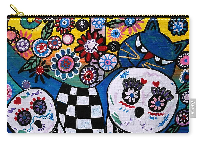 Cat Carry-all Pouch featuring the painting Day Of The Dead by Pristine Cartera Turkus