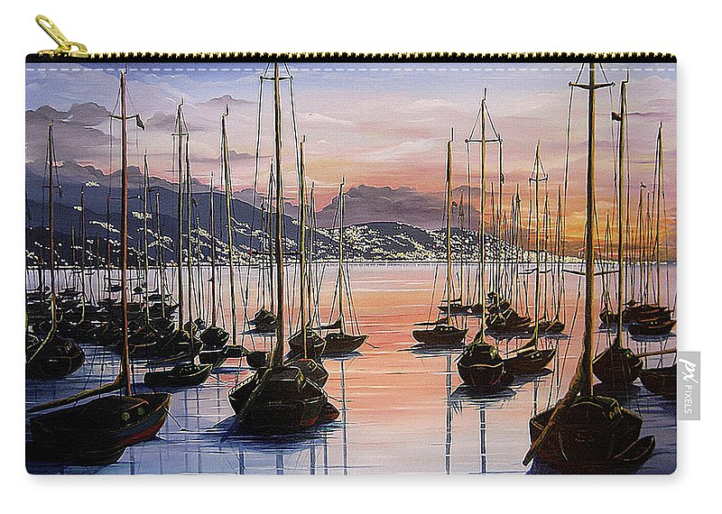 Seascape Painting Yacht Painting Harbour Painting Port Of Spain Trinidad And Tobago Painting Caribbean Painting Tropical Seascape Yachts  Painting Boats Dawn Breaking Greeting Card Painting Carry-all Pouch featuring the painting Daybreak by Karin Dawn Kelshall- Best