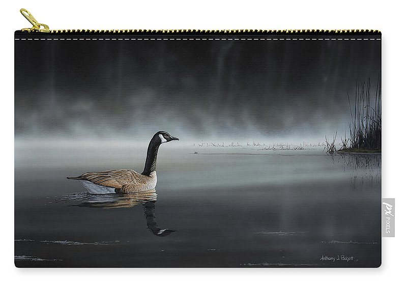 Goose Carry-all Pouch featuring the painting Daybreak Sentry by Anthony J Padgett