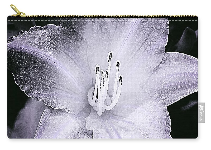 Daylily Flower With A Tint Of Purple Blossom With Dew Drops Black And White Carry-all Pouch featuring the photograph Daylily Flower With A Tint Of Purple by Jerry Cowart