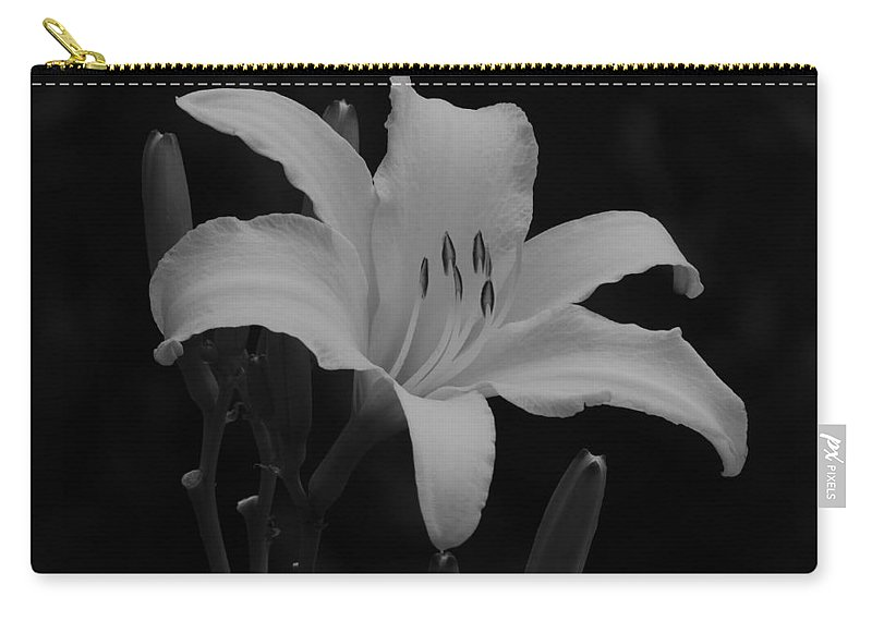 Daylily Carry-all Pouch featuring the photograph Daylily In Black And White by MTBobbins Photography