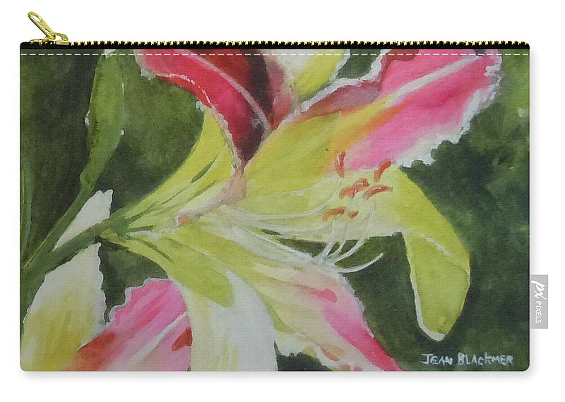 Daylily Carry-all Pouch featuring the painting Daylily Study 1 by Jean Blackmer