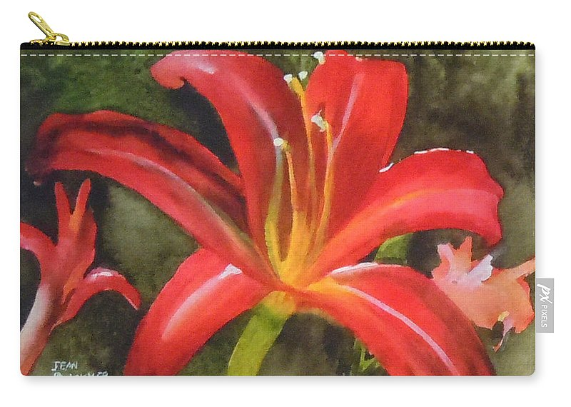 Red Carry-all Pouch featuring the painting Daylily Study IV by Jean Blackmer