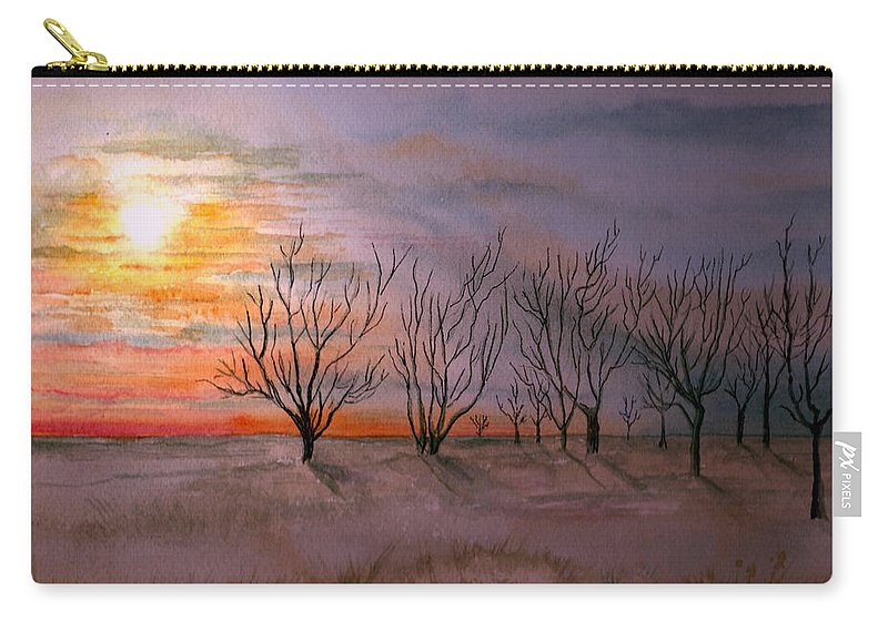 Watercolor Landscape Sundown Sunset Sky Trees Scenic Scenery Nature Clouds Carry-all Pouch featuring the painting Day's End by Brenda Owen