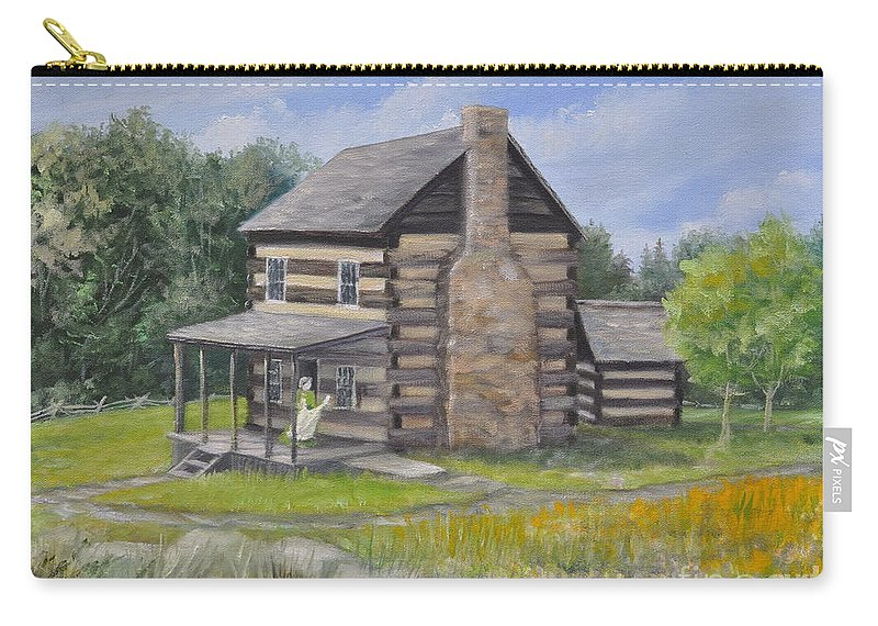 Log Cabin Carry-all Pouch featuring the painting Days Past by Penny Neimiller