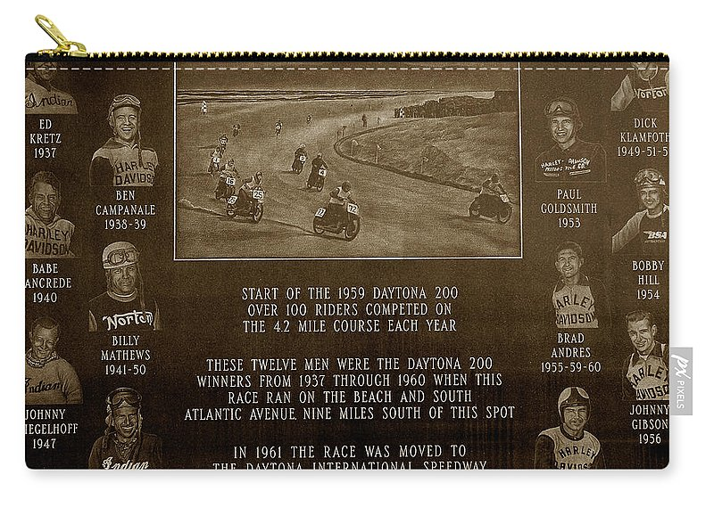 Dayton 200 Bike Race Carry-all Pouch featuring the photograph Daytona 200 Plaque by David Lee Thompson