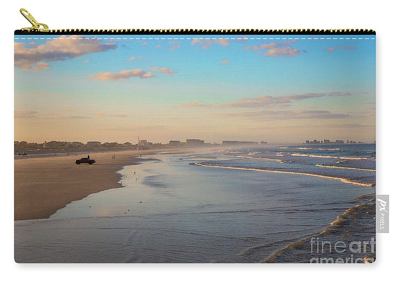 Daytona Beach At Sunset Carry-all Pouch featuring the photograph Daytona Beach At Sunset, Florida by Felix Lai