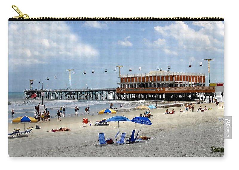 Daytona Beach Florida Carry-all Pouch featuring the photograph Daytona Beach Pier by David Lee Thompson