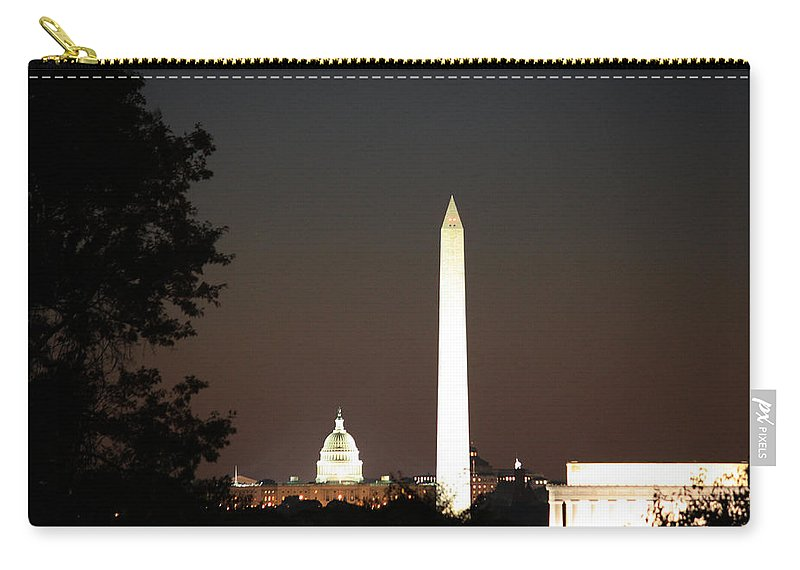 Us Carry-all Pouch featuring the photograph Dc Monuments Triumvirate by Ronald Reid