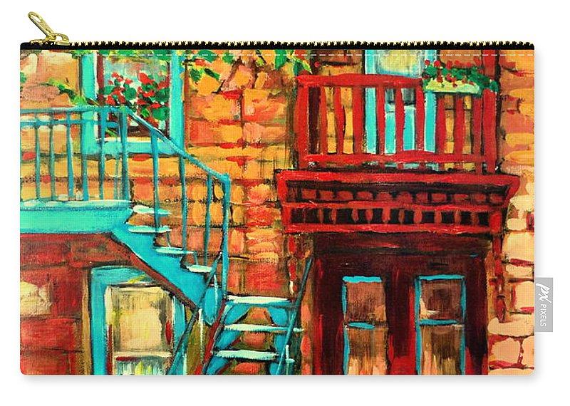 De Bullion Street Carry-all Pouch featuring the painting De Bullion Street Girls by Carole Spandau