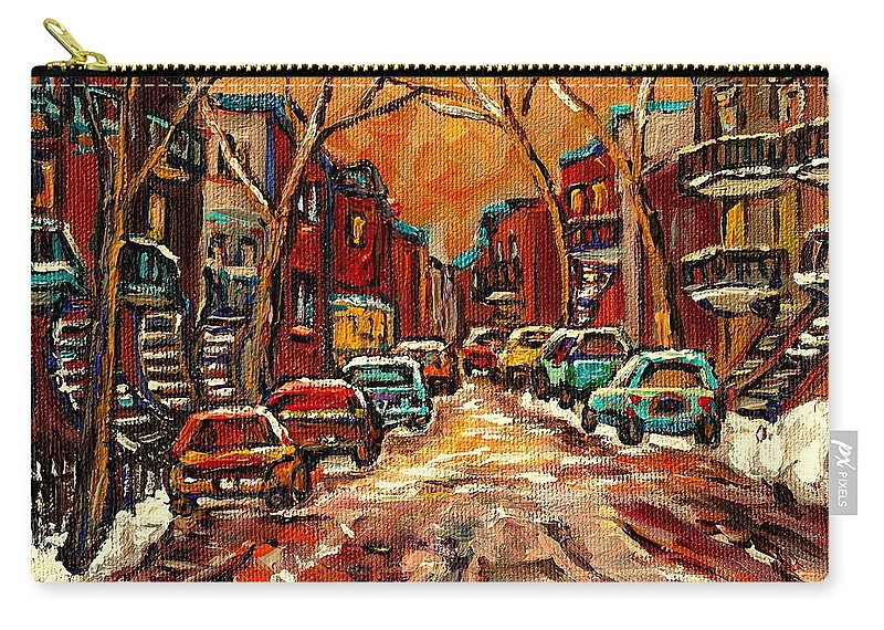 Montreal Carry-all Pouch featuring the painting De Bullion Street Montreal by Carole Spandau
