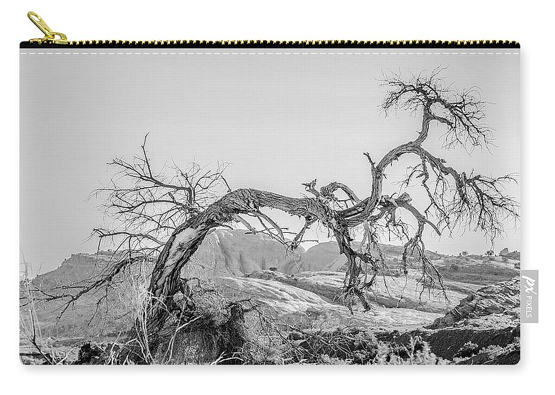 Trees Carry-all Pouch featuring the photograph Dead Old Tree Near Monument Valley Arizona by Alex Grichenko