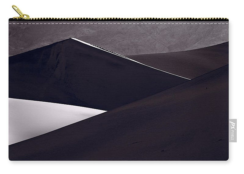 Black Carry-all Pouch featuring the photograph Death Valley Sand Dune Panorama Bw by Steve Gadomski