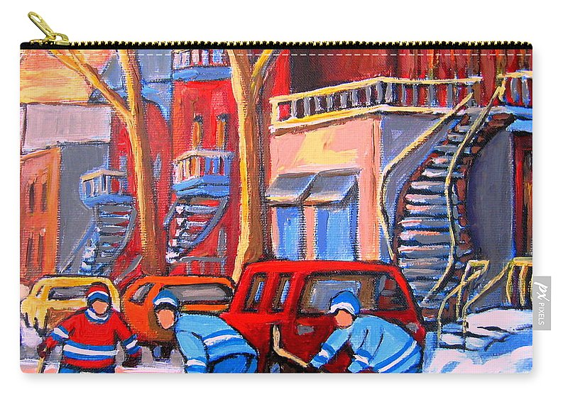 Debullion Street Hockey Stars Carry-all Pouch featuring the painting Debullion Street Hockey Stars by Carole Spandau