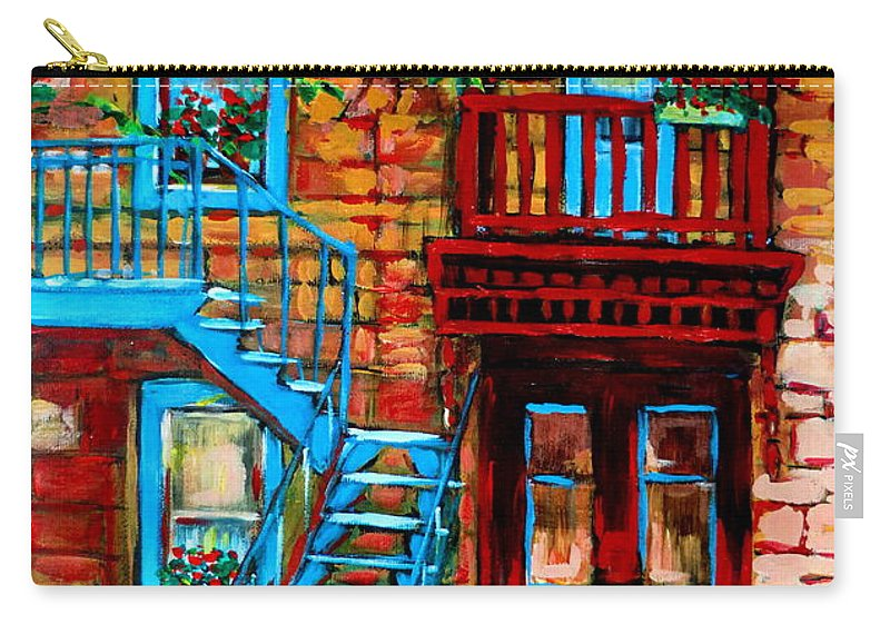 Montreal Streetscenes Carry-all Pouch featuring the painting Debullion Street Neighbors by Carole Spandau
