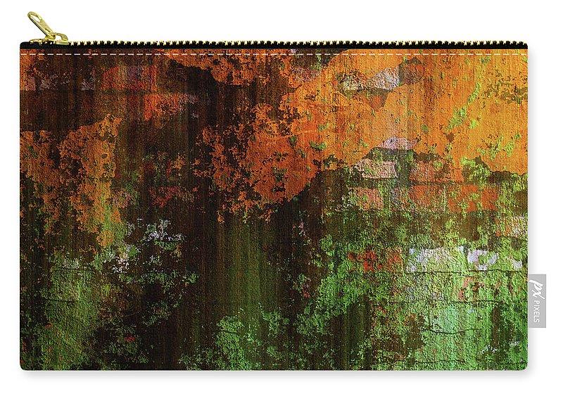 Urban Brick Green Orange Carry-all Pouch featuring the mixed media Decadent Urban Brick Green Orange Grunge Abstract by Georgiana Romanovna