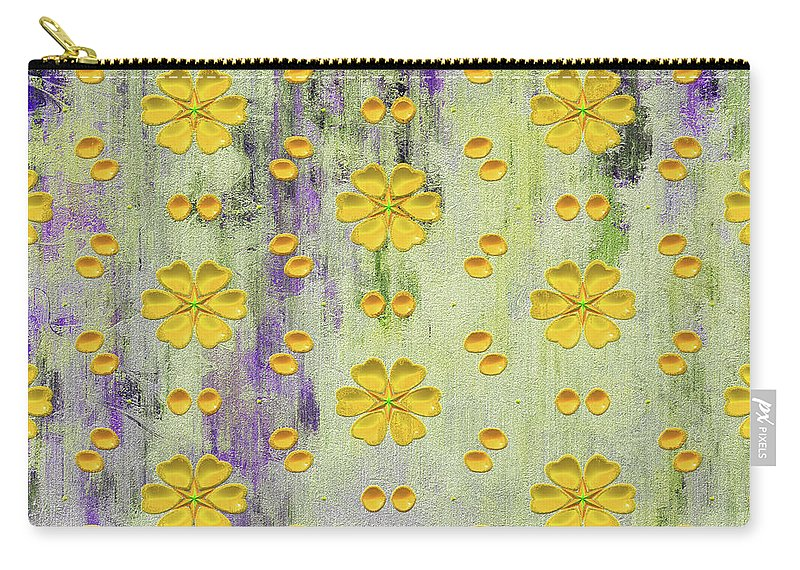 Decadent Urban Bright Yellow Carry-all Pouch featuring the mixed media Decadent Urban Bright Yellow Patterned Purple Abstract Design by Georgiana Romanovna