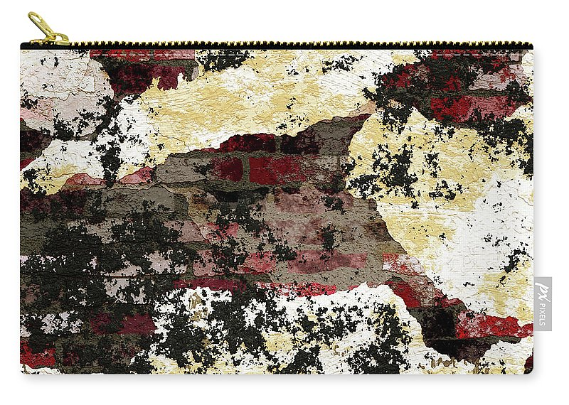 Decadent Urban Red Bricks Painted Carry-all Pouch featuring the mixed media Decadent Urban Red Bricks Painted Grunge Abstract by Georgiana Romanovna