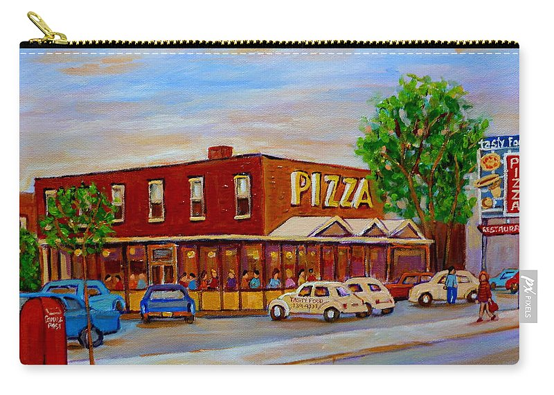 Tasty Food Pizza Carry-all Pouch featuring the painting Decarie Tasty Food Pizza by Carole Spandau