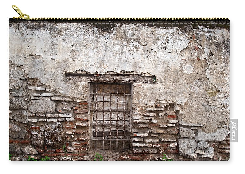 Decaying Carry-all Pouch featuring the photograph Decaying Wall And Window Antigua Guatemala by Douglas Barnett