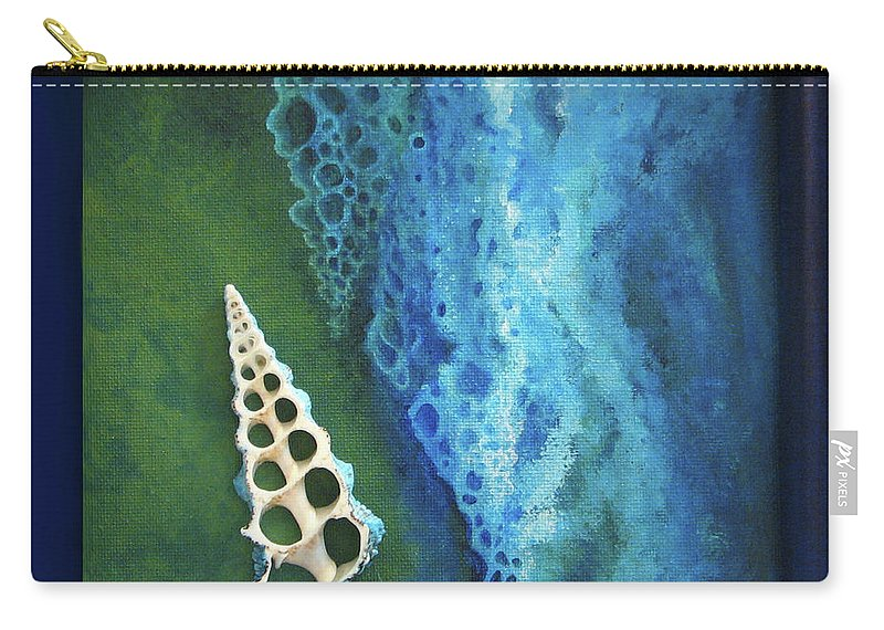 Sea Shells Ocean Beach Blue Green Carry-all Pouch featuring the painting Deceptive Sense Of Depth by Beth Waltz