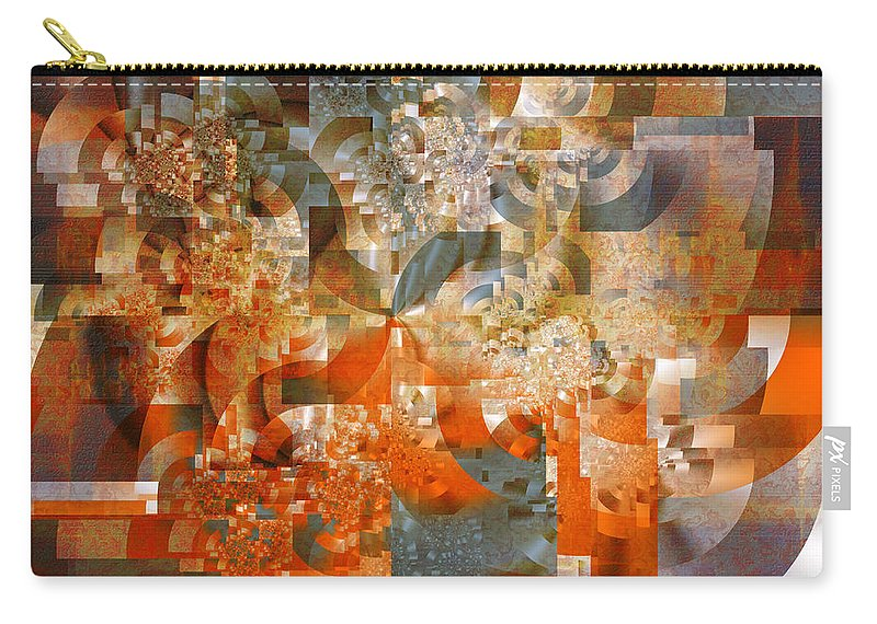 Fractal Carry-all Pouch featuring the digital art Deco Bubbles by Richard Ortolano