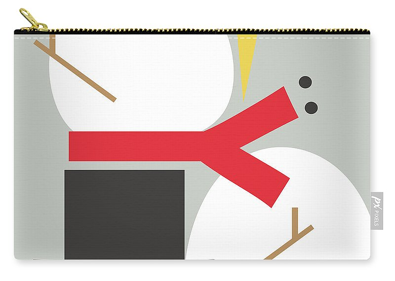 Snowman Carry-all Pouch featuring the digital art Deconstructed Snowman- Modern Art By Linda Woods by Linda Woods