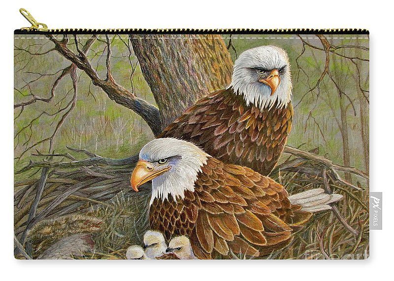 American Bald Eagles Carry-all Pouch featuring the drawing Decorah Eagle Family by Marilyn Smith
