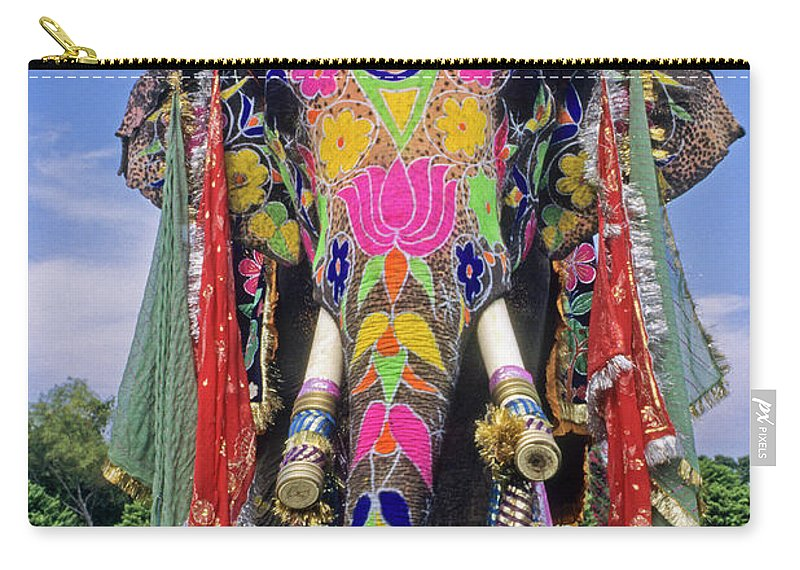 Asia Carry-all Pouch featuring the photograph Decorated Indian Elephant by Michele Burgess