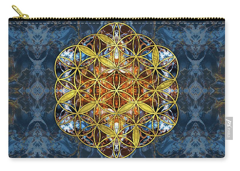 Sacred Geometry Carry-all Pouch featuring the digital art Decorative Gemstone Sacred Geometry Flower Of Life  by Creativemotions