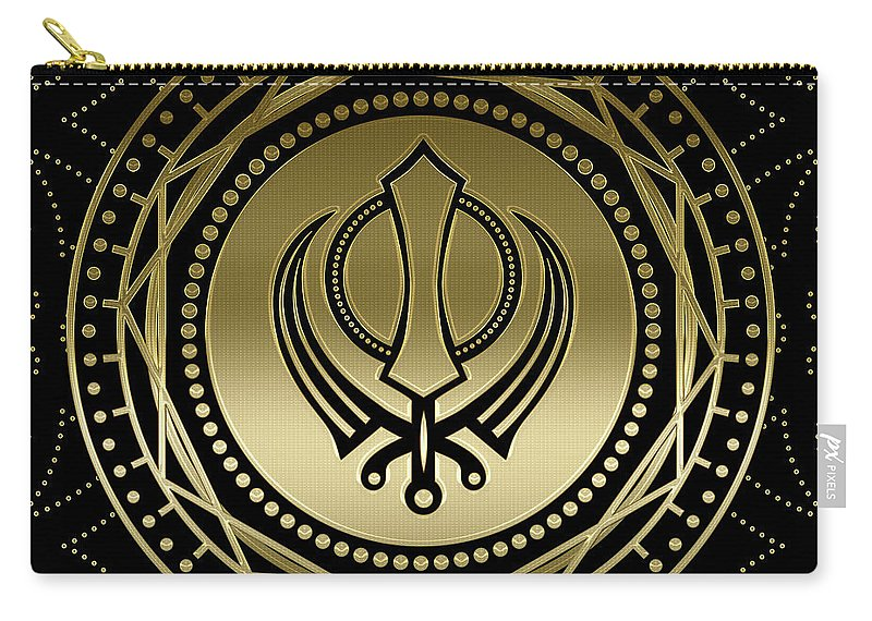 Khanda Carry-all Pouch featuring the digital art Decorative Khanda Symbol Gold On Black by Creativemotions