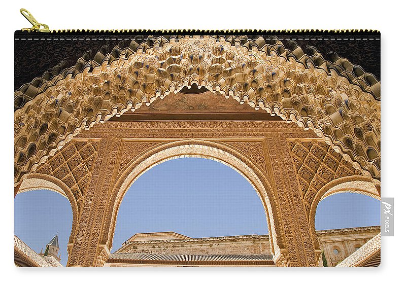 Architecture Carry-all Pouch featuring the photograph Decorative Moorish Architecture In The Nasrid Palaces At The Alhambra Granada Spain by Mal Bray