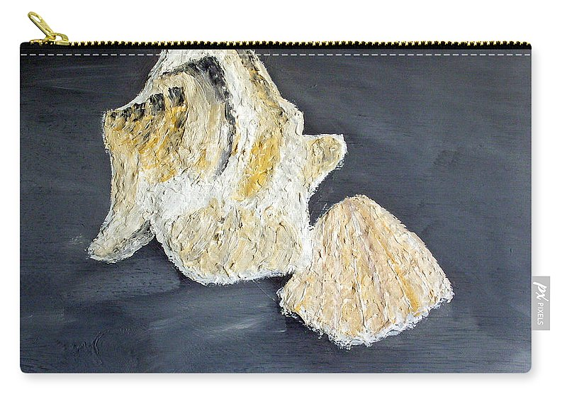 Still Life Paintings Carry-all Pouch featuring the painting Deep Ocean Seashells by Leslye Miller