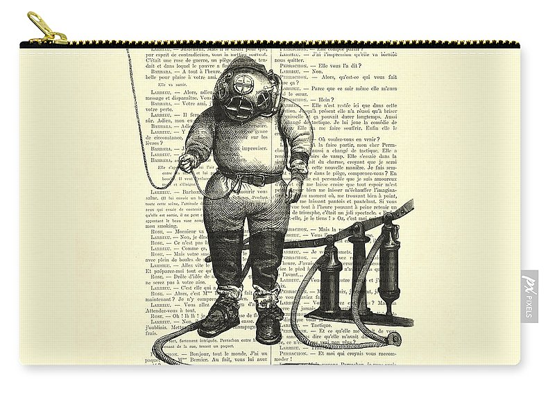 Deep Sea Diver Carry-all Pouch featuring the digital art Deep Sea Diver by Madame Memento