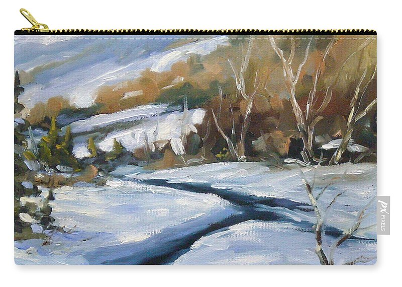 Art Carry-all Pouch featuring the painting Deep Snow by Richard T Pranke