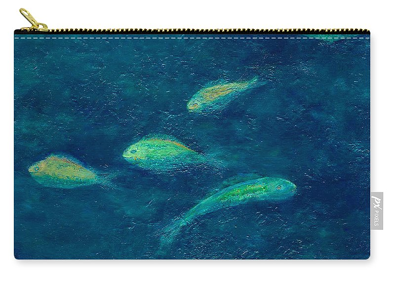 Ocean Carry-all Pouch featuring the painting Deep Swim by Ishwar Malleret