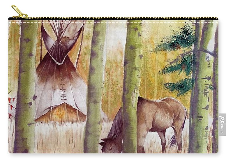 American Carry-all Pouch featuring the painting Deep Woods Camp by Jimmy Smith