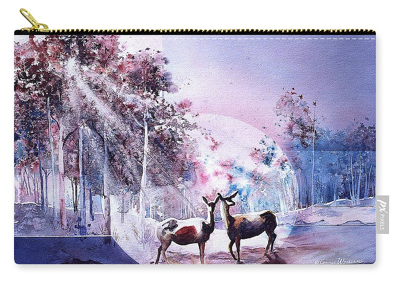 Deer Carry-all Pouch featuring the painting Deer Enchantment by Connie Williams