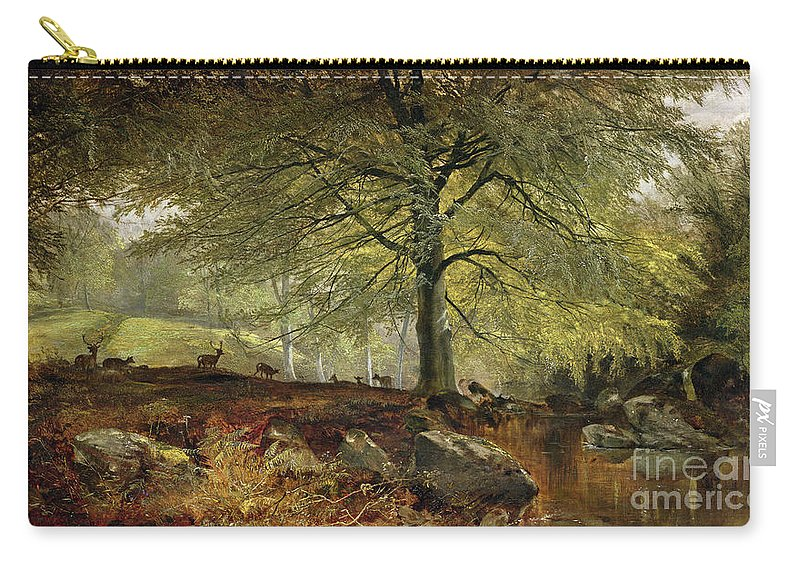 Deer Carry-all Pouch featuring the painting Deer In A Wood by Joseph Adam