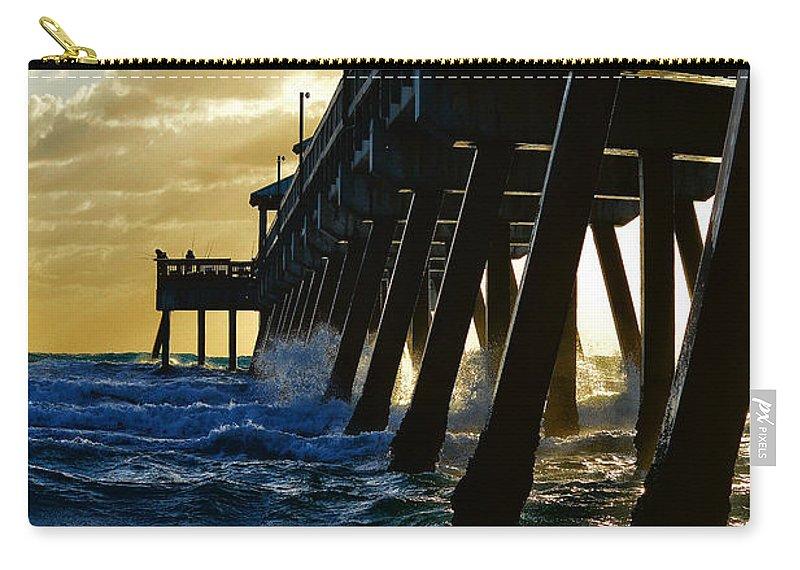 Deerfield Beach Carry-all Pouch featuring the photograph Deerfield Beach Pier At Sunrise by Paul Cook