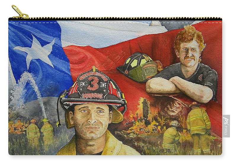 Firemen Carry-all Pouch featuring the painting Defending Texas by Gale Cochran-Smith