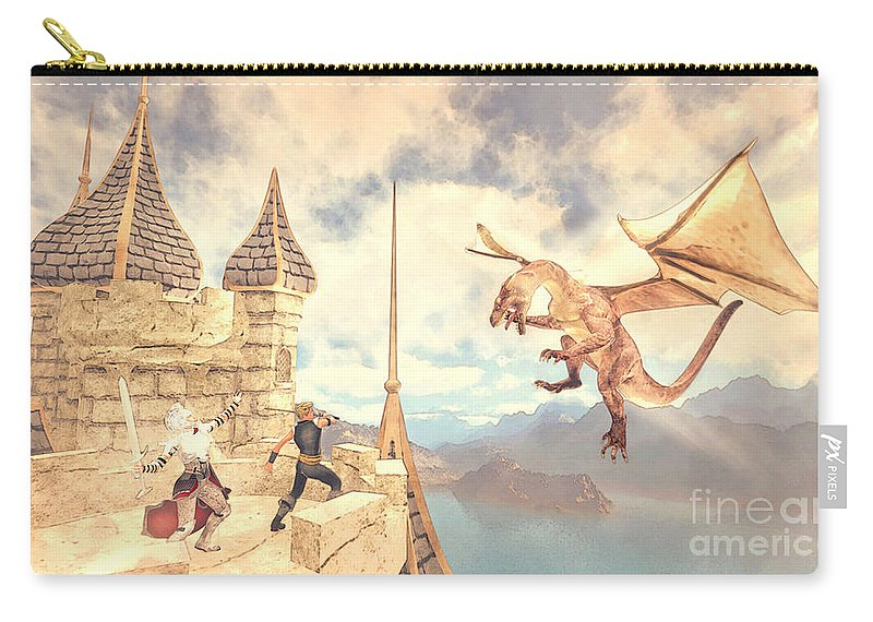 Defending The Castle Carry-all Pouch featuring the painting Defending The Castle by Methune Hively