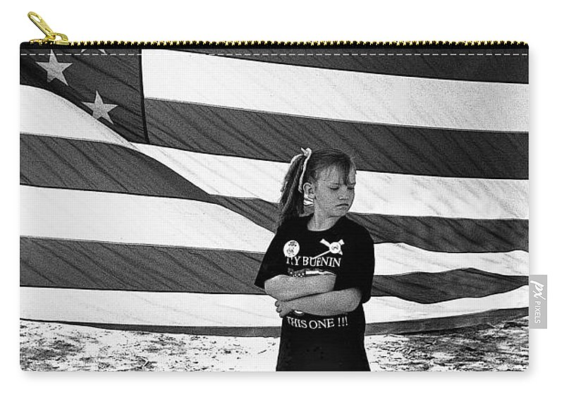 Defiant Girl Desert Storm Troops Welcome Home Celebration Ft. Lowell Tucson Arizona 1991 Carry-all Pouch featuring the photograph Defiant Girl Desert Storm Troops Welcome Home Celebration Ft. Lowell Tucson Arizona 1991 by David Lee Guss