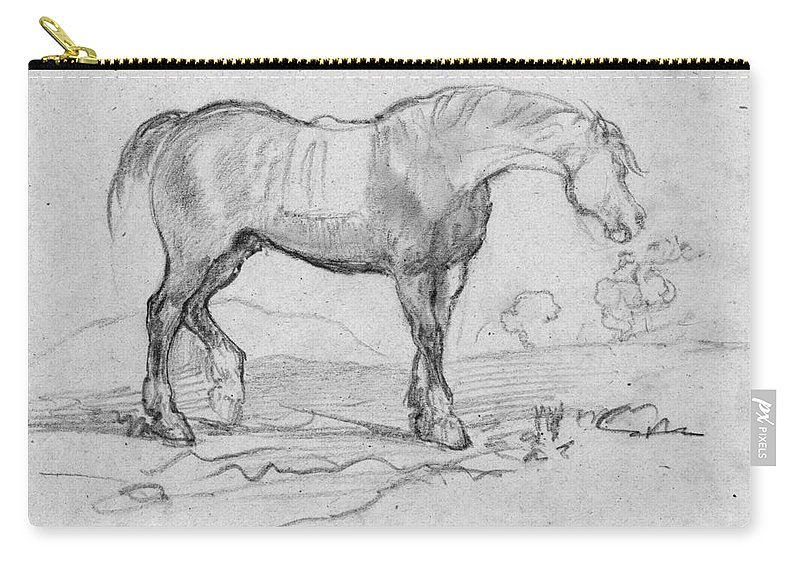 1890s Carry-all Pouch featuring the drawing Degas, Horse. by Granger