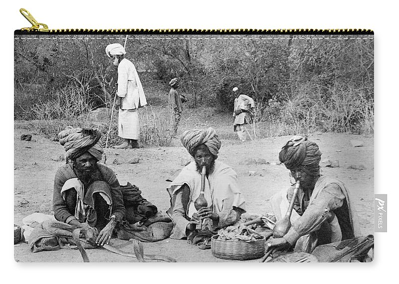 1903 Carry-all Pouch featuring the photograph Delhi: Snake Charmers by Granger