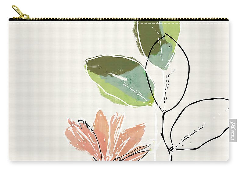 Flower Carry-all Pouch featuring the mixed media Delicate Flower- Art By Linda Woods by Linda Woods