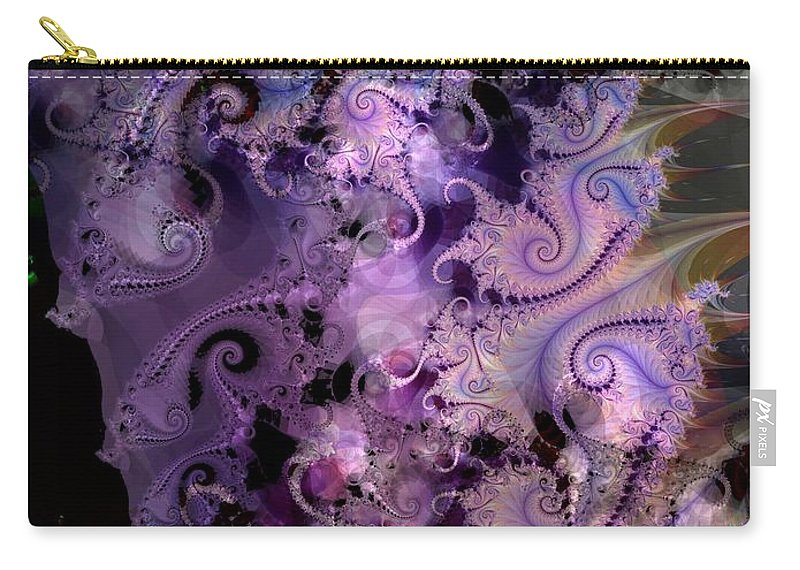 Delicate Carry-all Pouch featuring the digital art Delicate Lavender Forms by Ron Bissett