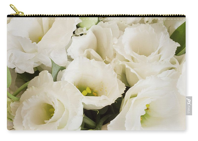Delicate White Lisianthus Flowers Carry All Pouch For Sale By Sandra
